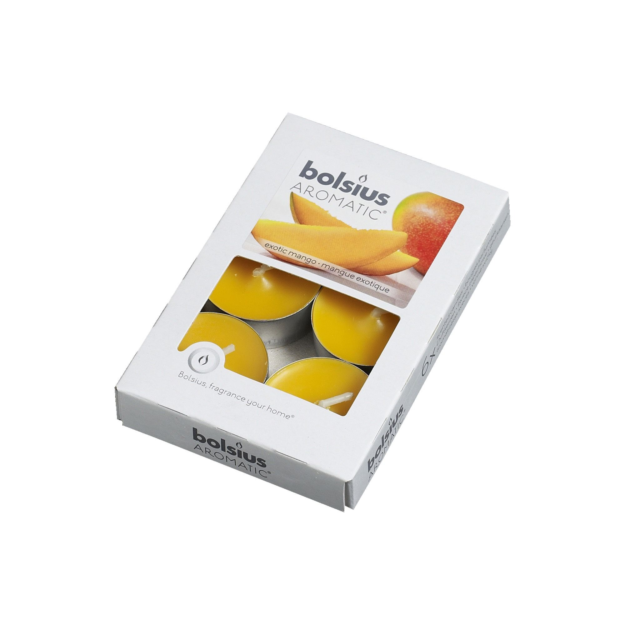Set 6 lumanari pastile, aroma mango, 4 ore