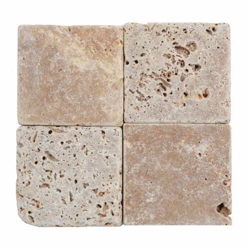 Travertin interior-exterior 10 x 10 x 1 cm Noce Tumbled