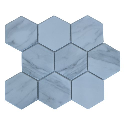 Mozaic 29.5 x 26 cm portelan Carrara hexagon