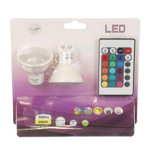 Set 2 becuri LED GU10 cu lumina calda si schimbare culoare