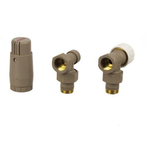Set robinet tur - retur termostatat unghi bej