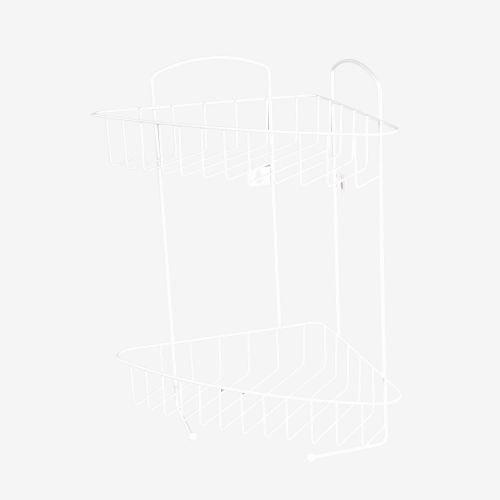 Etajera fixa alba 32.5 x 22 x 39 cm 2 nivele, pentru colt