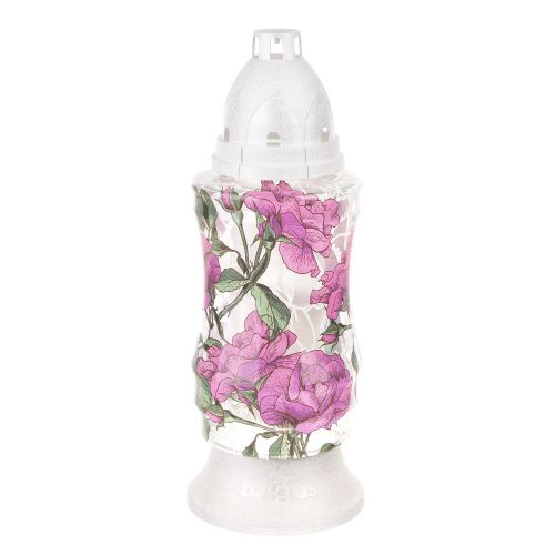 candela sticla trandafiri mov