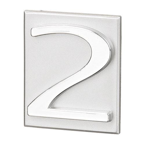 "Cifra ""2"" PVC autoadeziva argintie 40 x 47 mm"