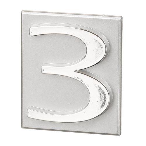 "Cifra ""3"" PVC autoadeziva argintie 40 x 47 mm"