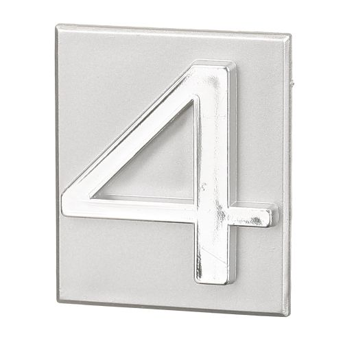 "Cifra ""4"" PVC autoadeziva argintie 40 x 47 mm"