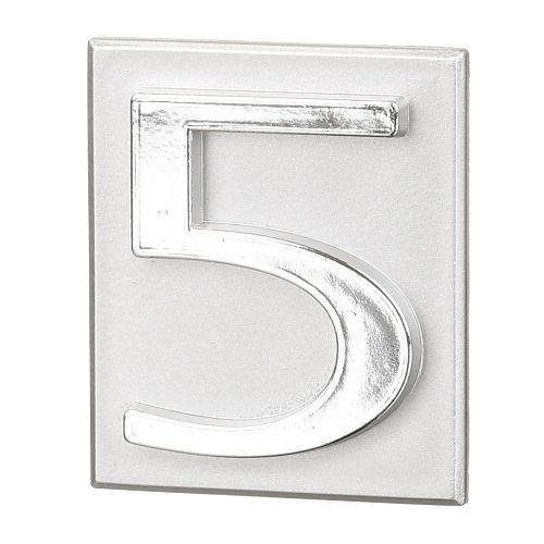 "Cifra ""5"" PVC autoadeziva argintie 40 x 47 mm"