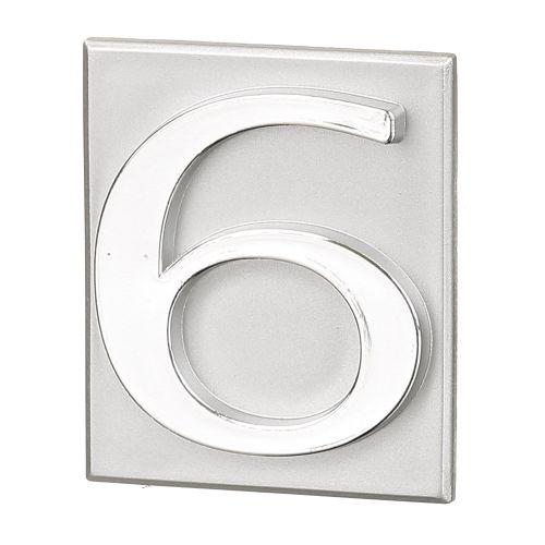 "Cifra ""6"" PVC autoadeziva argintie 40 x 47 mm"