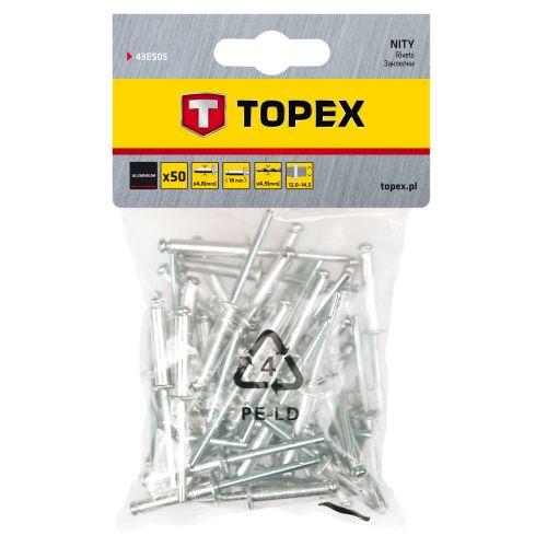 Set 50 nituri aluminiu 4.8 x 18 mm Topex