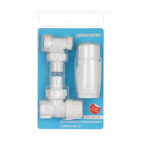 Set robinet tur - retur termostatat alb 1/2'