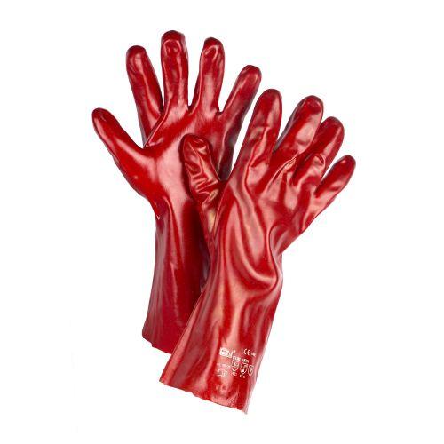 Manusi din PVC rosu, marimea 10