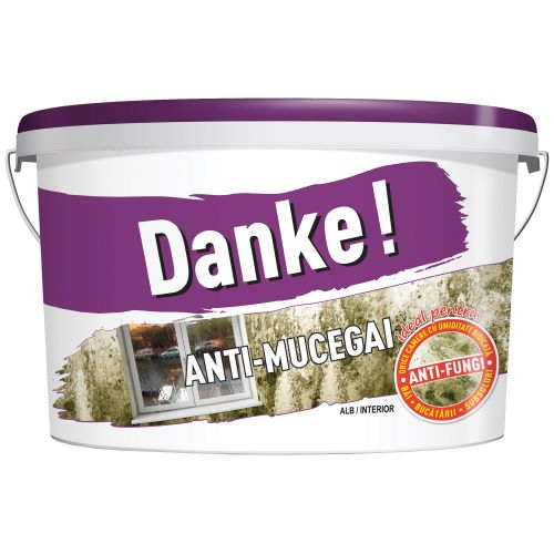 Vopsea lavabila alba de interior 8.5 l, Danke! Anti-Mucegai Baie si Bucatarie