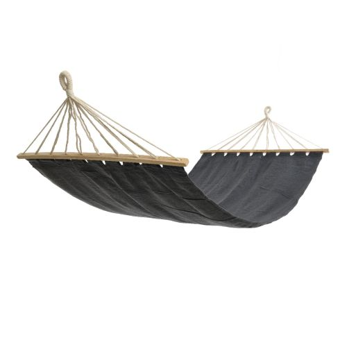 Hamac negru cu bara din lemn, lungime 2 m