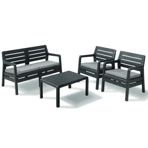 Set mobilier relaxare cu masa, 2 scaune si sofa Delano