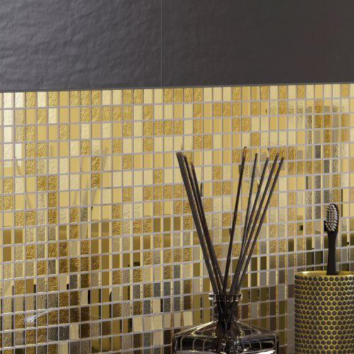 Mozaic 29.7 x 29.7 cm sticla mix auriu