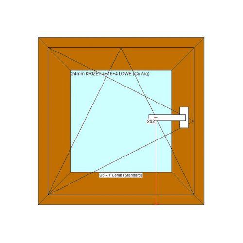 Fereastra PVC 5 camere 56 x 56 cm stejar, deschidere stanga