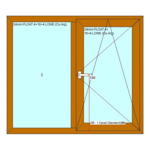 Fereastra PVC 5 camere 136 x 116 cm stejar, deschidere dreapta