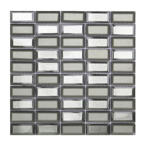 Mozaic 31 x 32 cm sticla Metro argintiu