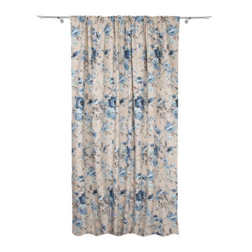 Draperie bej cu model floral gri si albastru, aspect mat, 200 x 245 cm, Pinto