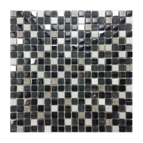 Mozaic 30 x 30 cm sticla/marmura negru/gri/alb