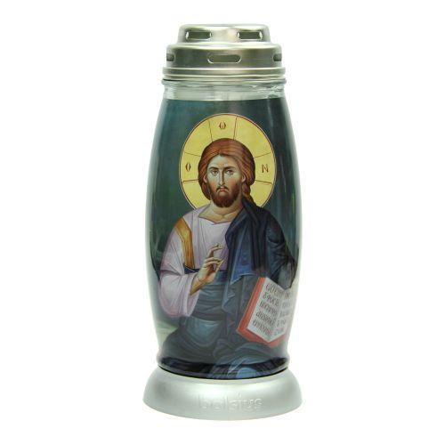 """Candela din sticla, ardere 54 ore, """"Hristos"""""""