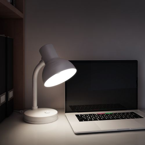 Lampa birou, 1x E27, metal alb mat