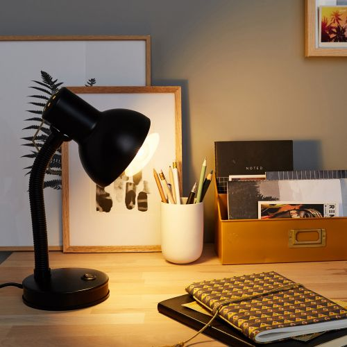 Lampa birou, 1 xE27, metal negru mat
