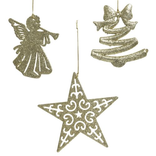 Decoratiune Ella cu sclipici auriu