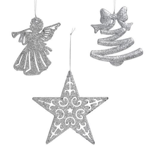 Decoratiune Ella cu sclipici argintiu