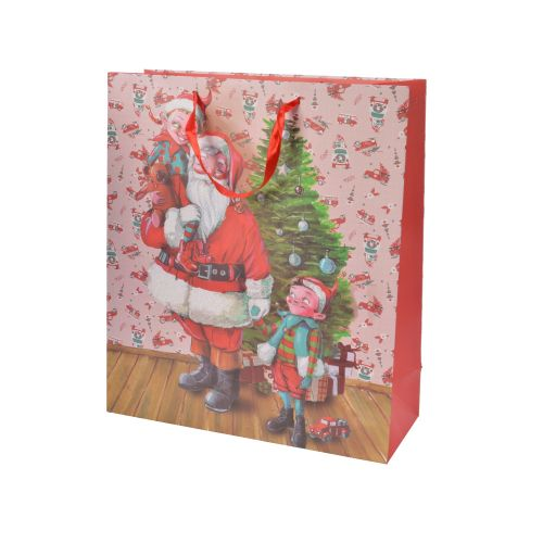 Punga de cadou medie cu Santa