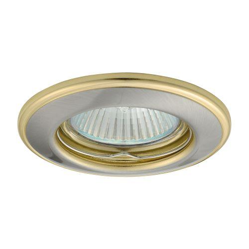 Spot incastrat fix GU5.3 50w, rotund, efect nichel-auriu