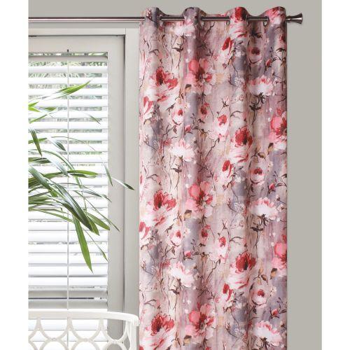 "Draperie roz/rosu, model floral, 140 x 245 cm, ""Impress"""