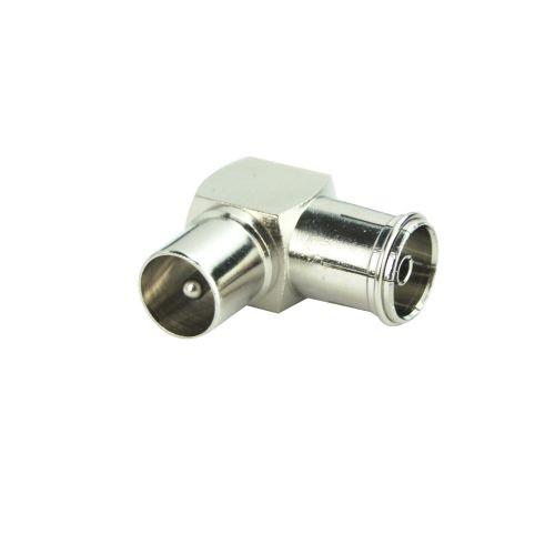 Adaptor cablu coxial, 9.52 mm, cotit, (mama/tata)