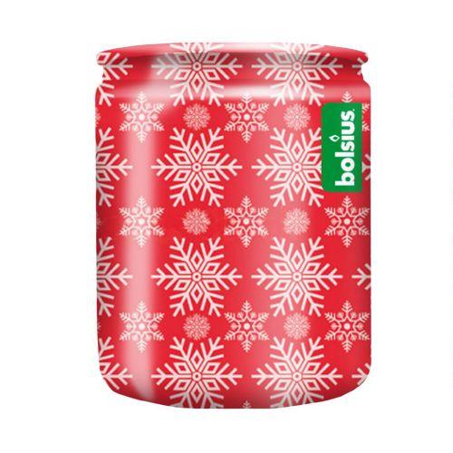 Pahar cu lumanare parfumata, 8.2 x 6.8 cm, Fulgi rosii