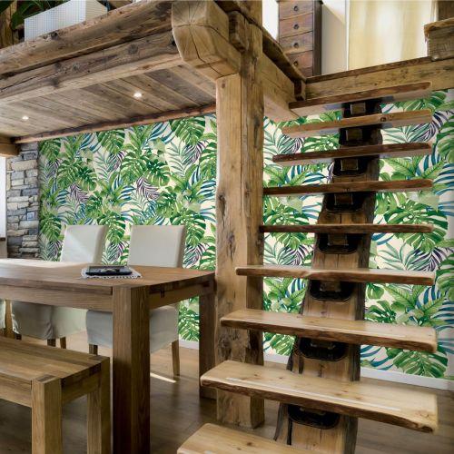 Tapet verde/mov, model vegetal tropical (pret/rola)